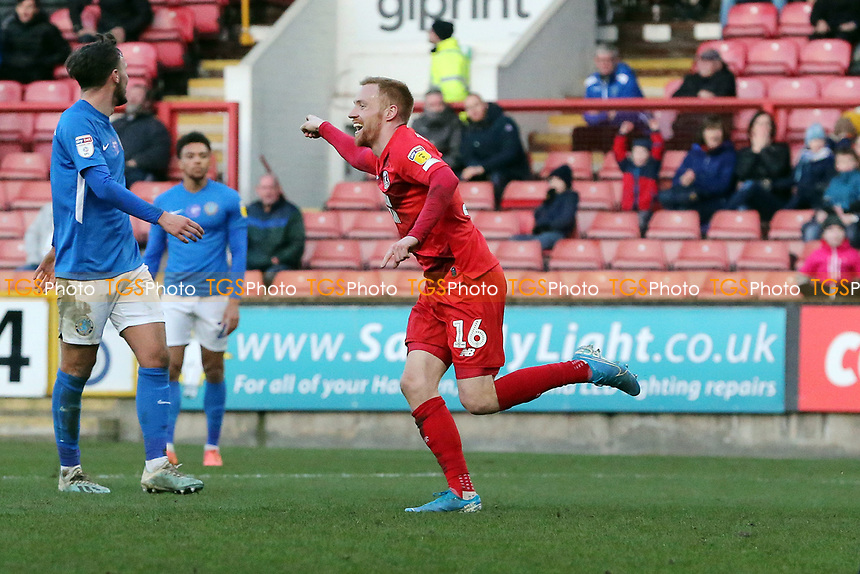 O's James Brophy scores for orient and celebrates during Leyton Orient vs Macclesfield Town, Sky Bet EFL League 2 Football at The Breyer Group Stadium on 8th February 2020