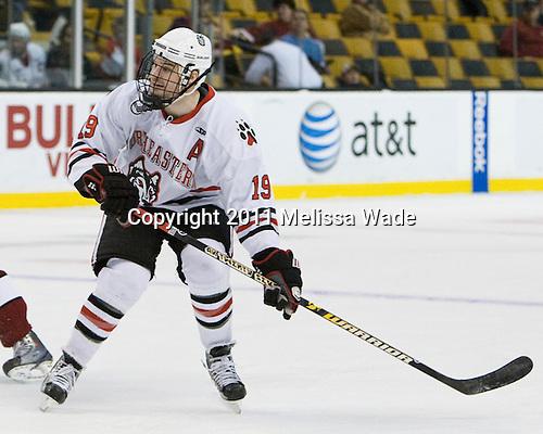 Wade MacLeod (Northeastern - 19) - The Northeastern University Huskies defeated the Harvard University Crimson 4-0 in their Beanpot opener on Monday, February 7, 2011, at TD Garden in Boston, Massachusetts.