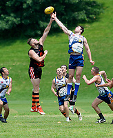 DC's Sam Rowley (16) leaps to win a centre bounce jump ball over Baltimore's Ben Crenca (23). The DC Eagles defeated the Baltimore Dockers 51-40 in their USAFL game 6-9-18 in Baltimore, MD.