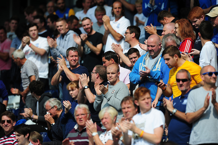 Preston North End fans before kick off<br /> <br /> Photographer Chris Vaughan/CameraSport<br /> <br /> Football - The Football League Sky Bet Championship - Preston North End v Ipswich Town - Saturday 22nd August 2015 - Deepdale - Preston<br /> <br /> &copy; CameraSport - 43 Linden Ave. Countesthorpe. Leicester. England. LE8 5PG - Tel: +44 (0) 116 277 4147 - admin@camerasport.com - www.camerasport.com