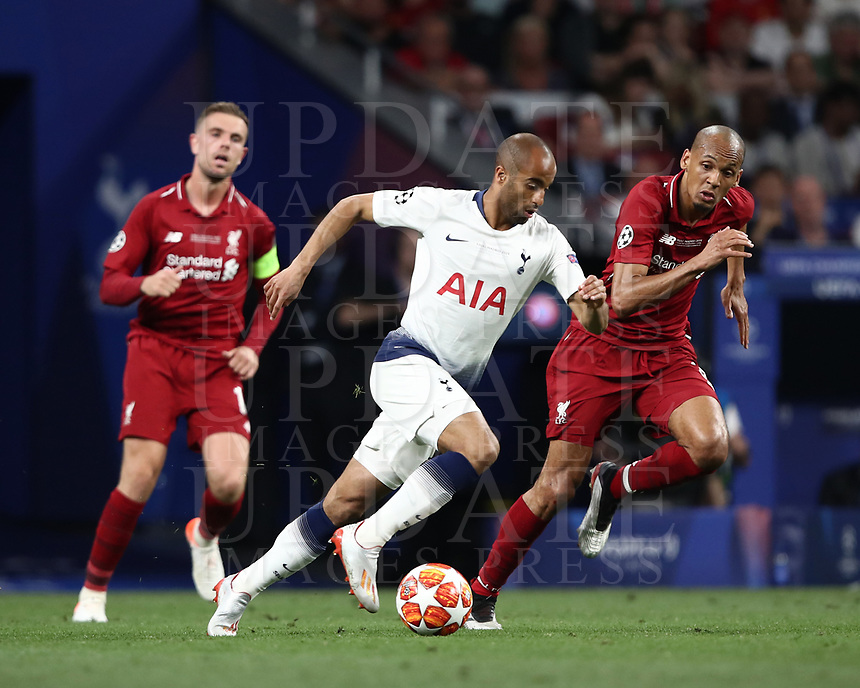 Tottenham's  Lucas Moura (l) in action with Liverpool's Fabinho (r) during the UEFA Champions League final football match between Tottenham Hotspur and Liverpool at Madrid's Wanda Metropolitano Stadium, Spain, June 1, 2019. Liverpool won 2-0.<br /> UPDATE IMAGES PRESS/Isabella Bonotto