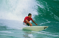 Kelly Slater (USA)  surfing in the 1996 Rip Curl Pro France at Hossegor in the South West corner of France.  Slater won the event. Photo: <br /> joliphotos.com