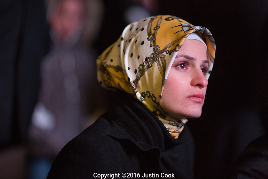 Suzanne Barakat on the one-year anniversary of the murder of her brother Deah Barakat, his wife Yusor Mohammad Abu-Salha and her sister Razan Mohammad Abu-Salha (ALL NAMES CQ). A vigil was held in their honor at North Carolina State University in Raleigh, NC on Wednesday, February 10, 2016. (Justin Cook)