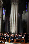 From left, President Donald Trump, first lady Melania Trump, former President Barack Obama, Michelle Obama, former President Bill Clinton, former Secretary of State Hillary Clinton, and former President Jimmy Carter listen as former Sen. Alan Simpson, R-Wyo., speaks during a State Funeral at the National Cathedral, Wednesday, Dec. 5, 2018, in Washington, for former President George H.W. Bush. In the second row are Vice President Mike Pence and Karen Pence. <br /> Credit: Alex Brandon / Pool via CNP