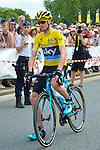 King Philippe of Belgium gives the start of the 4th stage of the Tour de France ( Seraing - Cambrai ) Seraing , July 7, 2015, Belgium<br /> Pics: Chris Froome