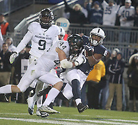 State College, PA - 11/26/2016:  Penn State RB Andre Robinson scores a touchdown in the second half. #7 Penn State defeated Michigan State by a score of 45-12 to secure the Big Ten conference East Division championship on Senior Day, Saturday, November 26, 2016, at Beaver Stadium in State College, PA.<br /> <br /> Photos by Joe Rokita / JoeRokita.com