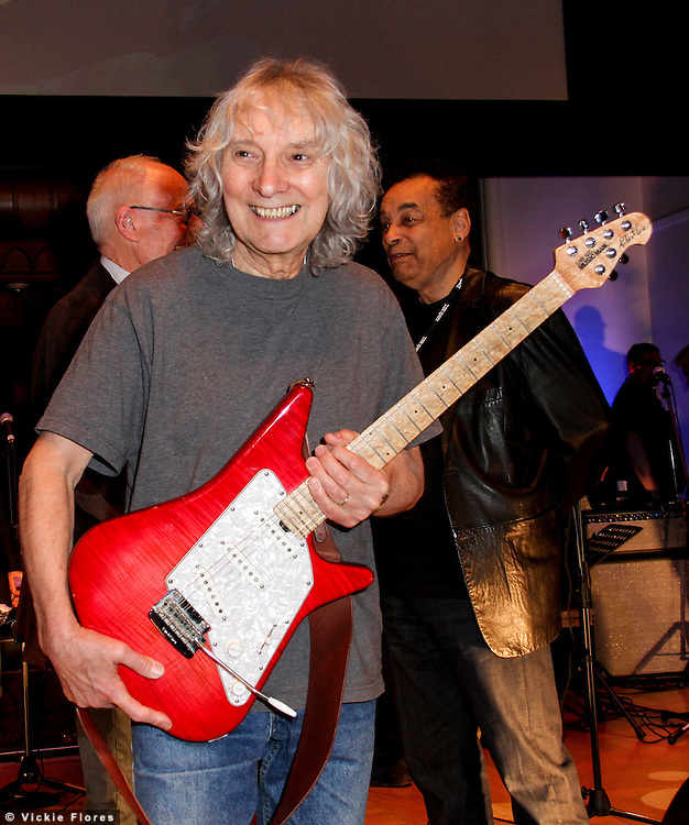 Albert Lee poses on stage before the start of Albert Lee's 70th birthday concert on March 1st, 2014 at Cadogan Hall, Sloane Terrace in London.  Photo by Vickie Flores.