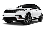 Stock pictures of low aggressive front three quarter view of a 2018 Land Rover Range Rover Velar Dynamic SE 5 Door SUV