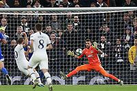 Harry Kane of Tottenham Hotspur  scores the second goal during Tottenham Hotspur vs Olympiacos FC, UEFA Champions League Football at Tottenham Hotspur Stadium on 26th November 2019