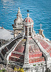 The roof of a church overlooking the bay in Valletta, Malta