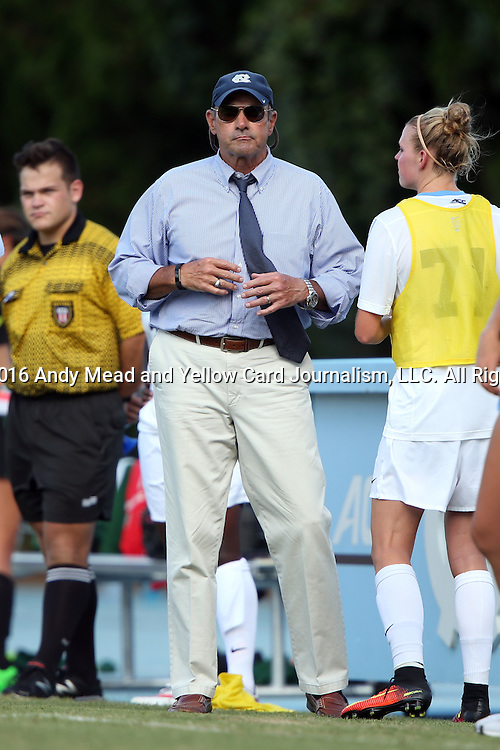 21 August 2016: UNC assistant coach Bill Palladino. The University of North Carolina Tar Heels hosted the University of North Carolina Charlotte 49ers in a 2016 NCAA Division I Women's Soccer match. UNC won the game 3-0