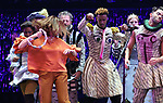 The Go-Go's: Belinda Carlisle performs with cast during a special curtain call at Broadway's 'Head Over Heels' on July 12, 2018 at the Hudson Theatre in New York City.