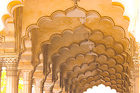Colonnaded arches of Agra Fort Agra, India    BUilt in 1500's       Red sandstoen fort near Taj Mahal