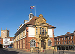 Historic town hall building in centre of Marlborough, Wiltshire, England, UK