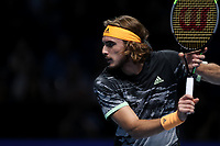 15th November 2019; 02 Arena. London, England; Nitto ATP Tennis Finals; Stefanos Tsitsipas (Greece) during his match with Rafael Nadal (Spain) - Editorial Use