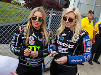 May 15, 2016; Commerce, GA, USA; NHRA top fuel driver Brittany Force (left) with sister, funny car driver Courtney Force during the Southern Nationals at Atlanta Dragway. Mandatory Credit: Mark J. Rebilas-USA TODAY Sports