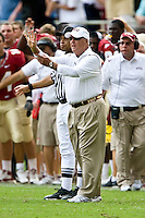 October 31, 2009:    Florida State head coach walks out on the field to make sure the Referee knows it is fourth down during Atlantic Coast Conference action between the North Carolina State Wolfpack and Florida State Seminoles at Doak Campbell Stadium in Tallahassee, Florida.  Florida State defeated N. C. State 45-42.