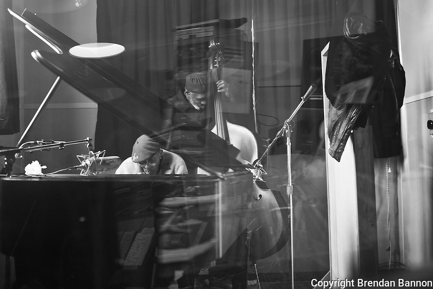 Piano player Boyd Lee Dunop and bassist Sabu Adeyola take a break during the recording sessions at Soundscape studios in Buffalo, New York. Dunlop, age 85,  recorded his debut CD in Feb 2011.