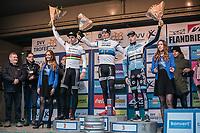 Podium:<br /> <br /> 1st place: Mathieu van der Poel (NED/Beobank Coredon)<br /> 2nd place: Wout Van Aert (BEL/Crelan-Charles)<br /> 3th place: Michael Vanthourenhout (BEL/Marlux Napoleon Games)<br /> <br /> men's elite race<br /> Flandriencross Hamme / Belgium 2017
