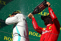 Podium Hungarian GP 2019 <br /> #44 Lewis Hamilton Mercedes AMG Team F1 <br /> #05 Sebastian Vettel, Scuderia Ferrari <br /> <br /> Budapest 2-4 August 2019<br /> Budapest 04/08/2019 GP Hungary <br /> Formula 1 Championship 2019 Race  <br /> Photo Federico Basile / Insidefoto
