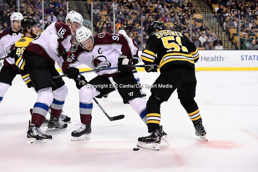 October 9, 2017: Colorado Avalanche left wing Gabriel Landeskog (92) and Boston Bruins center Ryan Spooner (51) battle for the puck during the NHL game between the Colorado Avalanche and the Boston Bruins held at TD Garden, in Boston, Mass. Colorado defeats Boston 4-0. Eric Canha/CSM