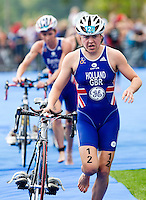 12 SEP 2010 - BUDAPEST, HUN - Vicky Holland races out of transition during the 2010 Elite Womens ITU World Championship Series Triathlon final (PHOTO (C) NIGEL FARROW)