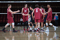 STANFORD, CA - March 3, 2018: Eric Beatty, Kevin Rakestraw, Evan Enriques, JP Reilly, Jaylen Jasper at Maples Pavilion. The Stanford Cardinal lost to Pepperdine, 3-0.