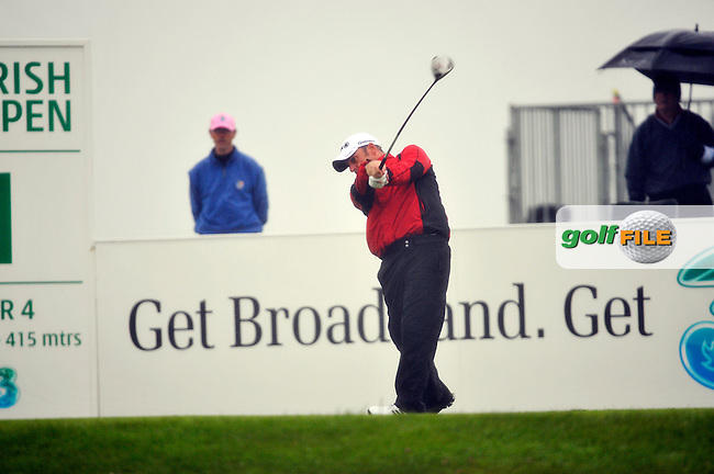Paul McGinley tees off for his second 9 holes on the 1st tee during Round 2 of the 3 Irish Open on 15th May 2009 (Photo by Eoin Clarke/GOLFFILE)