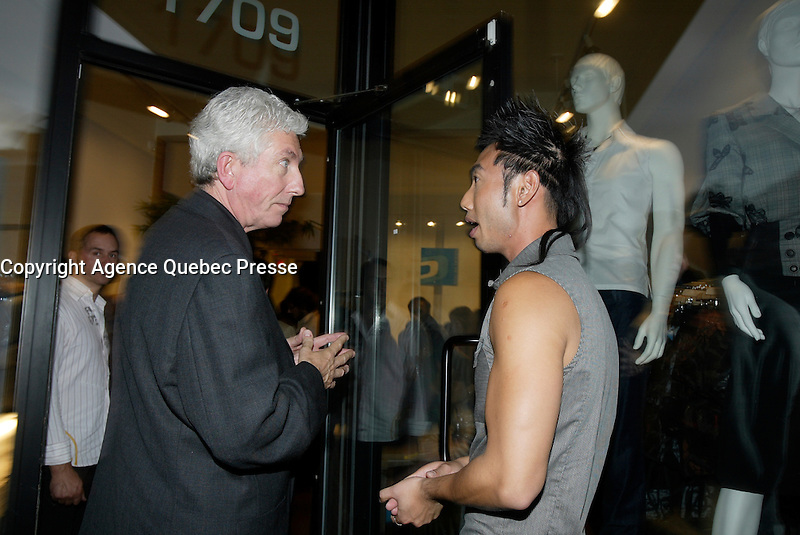 Montreal (QC) CANADA, October 3rd 2007 -<br /> Gilles Duceppe, leader of the Bloc Quebecois (L) at the<br /> <br /> Launch of Montreal Designer Dinh Ba, at his boutique on Amherst street in Montreal.<br /> <br /> <br /> photo : (c) &uml;Pierre Roussel -  images Distribution