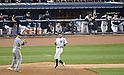Justin Smoak (Mariners), Ichiro Suzuki (Yankees),.MAY 15, 2013 - MLB :.Ichiro Suzuki of the New York Yankees runs to first base during the baseball game against the Seattle Mariners at Yankee Stadium in The Bronx, New York, United States. (Photo by AFLO)
