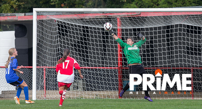 Goalkeeper Jessica Smith of Flackwell Heath pulls off a save but May Hamblin of Laurel Park Vipers scores from the rebound during the Thames Valley Counties Women's Football League (TVCWFL) match between Flackwell Heath Ladies and Laurel Park Vipers at Wilks Park, Blackwell Heath, England on 11 October 2015. Photo by Andy Rowland.