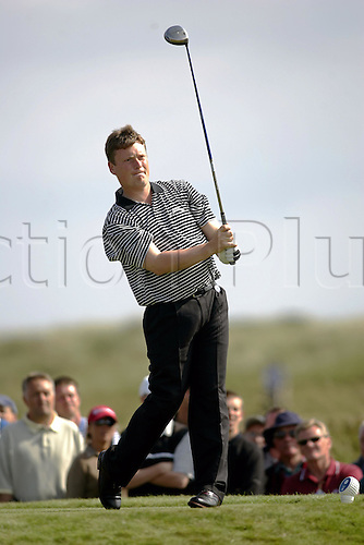 15 July 2004: English amateur player STUART WILSON (ENG) looks into the distance after playing his tee shot at the 15th on his way to a first round of 68 at The Open Championship, Royal Troon, Scotland. Photo: Glyn Kirk/Action Plus...golf golfer golfers 040715 amateurs british