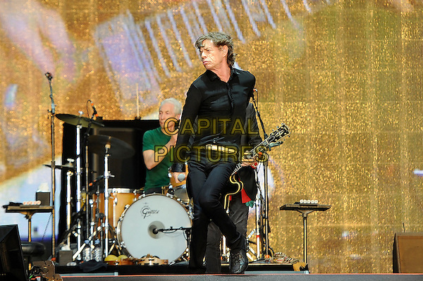 Charlie Watts and Mick Jagger of The Rolling Stones <br /> performing at Barclaycard British Summertime, Hyde Park, London, England, UK, <br /> 13th July 2013.<br /> music concert gig festival live on stage  full half length  black shirt microphone drummer green t-shirt drums <br /> CAP/MAR <br /> &copy; Martin Harris/Capital Pictures