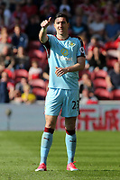 Burnley's Stephen Ward gives the thumbs up after a stray pass<br /> <br /> Photographer David Shipman/CameraSport<br /> <br /> The Premier League - Middlesbrough v Burnley - Saturday 8th April 2017 - Riverside Stadium - Middlesbrough<br /> <br /> World Copyright &copy; 2017 CameraSport. All rights reserved. 43 Linden Ave. Countesthorpe. Leicester. England. LE8 5PG - Tel: +44 (0) 116 277 4147 - admin@camerasport.com - www.camerasport.com