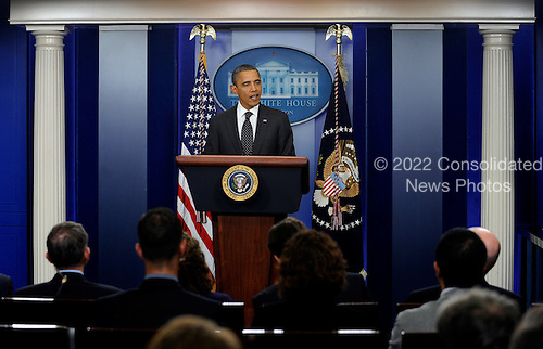 "United States President Barack Obama makes a statement regarding the failure of Congress' deficit reduction super committee in the Brady Press Briefing Room of the White House in Washington on November 21, 2011. Obama blamed Republicans for the failure of the process meant to cut $1.2 trillion from the budget but called on Congress to ""keep trying.""  .Credit: Roger L. Wollenberg / Pool via CNP"