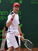 BOGOTA - COLOMBIA -05 -11-2013: Facundo Bagnis, tenista de Argentina celebra durante partido de la primera ronda del Seguros Bolivar Open en el Club Campestre el Rancho de la ciudad de Bogota. / Facundo Bagnis, Argentina tennis player celebrtes during a match for the first round of the Seguros Bolivar Open in the Club Campestre El Rancho in Bogota city.Photo: VizzorImage  / Luis Ramirez / Staff.
