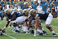 Pitt Panthers offensive line. The Pitt Panthers defeated the Villanova Wildcats 28-7 at Heinz Field, Pittsburgh, Pennsylvania on September 3, 2016.