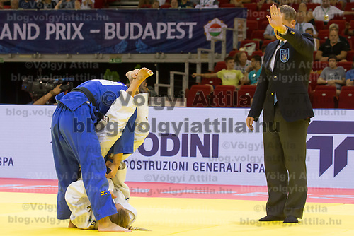 Natsumi Tsunoda (L) of Japan and Charline Van Snick (R) of Belgium fight during the Women -52 kg category at the Judo Grand Prix Budapest 2018 international judo tournament held in Budapest, Hungary on Aug. 10, 2018. ATTILA VOLGYI