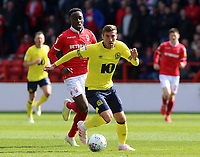 Blackburn Rovers' Joe Rothwell gets away from Nottingham Forest's Arvin Appiah<br /> <br /> Photographer David Shipman/CameraSport<br /> <br /> The EFL Sky Bet Championship - Nottingham Forest v Blackburn Rovers - Saturday 13th April 2019 - The City Ground - Nottingham<br /> <br /> World Copyright © 2019 CameraSport. All rights reserved. 43 Linden Ave. Countesthorpe. Leicester. England. LE8 5PG - Tel: +44 (0) 116 277 4147 - admin@camerasport.com - www.camerasport.com