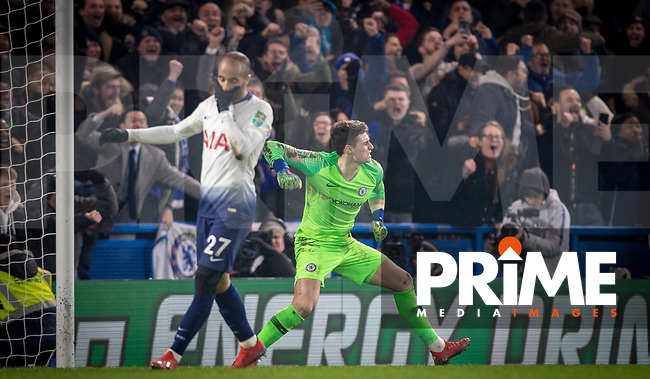 Goalkeeper Kepa ARRIZABALAGA of Chelsea celebrates as Lucas Moura of Spurs has his penalty saved during the Carabao Cup Semi-Final 2nd leg match between Chelsea and Tottenham Hotspur at Stamford Bridge, London, England on 24 January 2019. Photo by Andy Rowland.