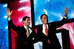 Republican presidential candidate Mitt Romney and vice presidential candidate Rep. Paul Ryan on the final night of Republican National Convention in Tampa, Florida, August 30, 2012.