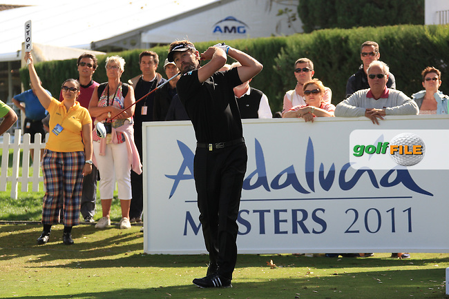 Raphael Jacquelin (FRA) during the 1st day at the  Andalucía Masters at Club de Golf Valderrama, Sotogrande, Spain. .Picture Fran Caffrey www.golffile.ie