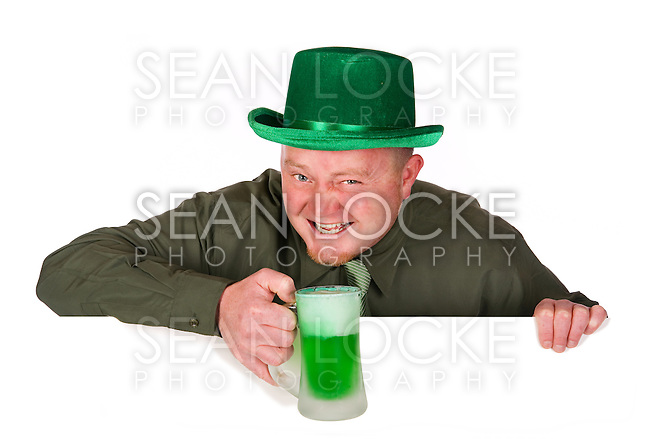 Short series of an Irish man in green for St. Patrick's Day.