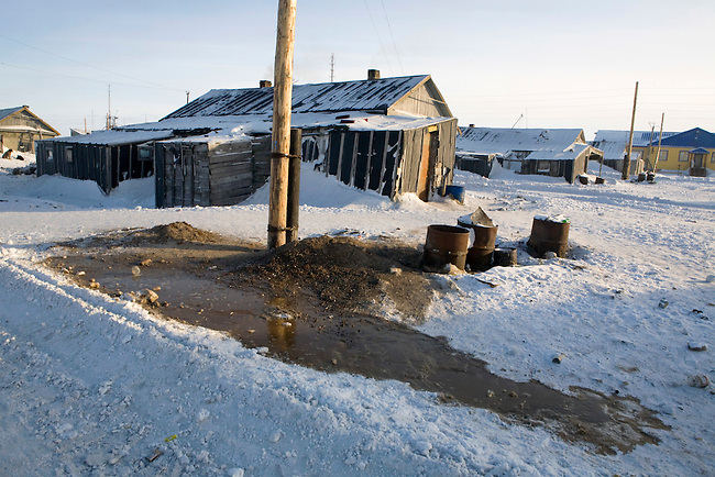 In the native village of Neshkan, few houses have toilets. Most people use buckets which they empty outside their homes. Chukotskiy Peninsula, Chukotka, Siberia, Russia