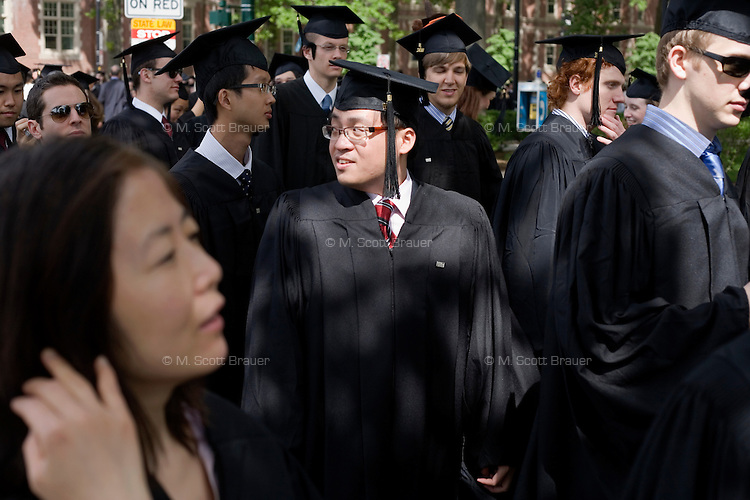 3 June 2011, Cambridge, MA - MIT Commencement..Graduating students make their way to the commecement ceremony at the Massachusetts Institute of Technology....Photo by M. Scott Brauer for MIT News