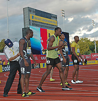 Photo: Tony Oudot/Richard Lane Photography..Aviva London Grand Prix. 24/07/2009. .Usain Bolt of Jamaica dances before winning the Men's 100m.
