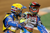 BARTOSZ ZMARZLIK (Poland), left, and CHRIS HOLDER (Australia), right, celebrate after a win in an early heat during the 2016 Adrian Flux British FIM Speedway Grand Prix at Principality Stadium, Cardiff, Wales  on 9 July 2016. Photo by David Horn.