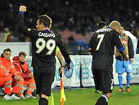 Esultanza  Antonio Cassano durante l'incontro di calcio di Serie A  Napoli Parmi allo  Stadio San Paolo  di Napoli , 23 Novembre 2013<br /> Foto Ciro De Luca