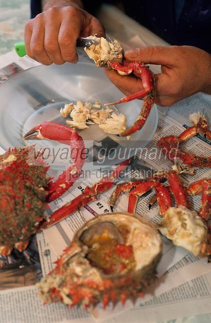 Europe/France/Pays de la Loire/85/Vendée/Ile d'Yeu/Port-Joinville: Marc Turbe prépare la salade d'araignée (plat traditionnel lors des mariages sur l'Ile)