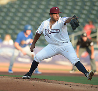 NWA Democrat-Gazette/ANDY SHUPE<br /> Northwest Arkansas Naturals starter Arnaldo Hernandez delivers to the plate Wednesday, July 11, 2018, as Tulsa Drillers shortstop Errol Robinson leads off of first during the first inning at Arvest Ballpark in Springdale. Visit nwadg.com/photos to see more photographs from the game.